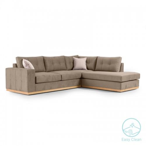 Γωνιακός καναπές αριστερή γωνία Boston pakoworld ύφασμα mocha-cream 280x225x90εκ