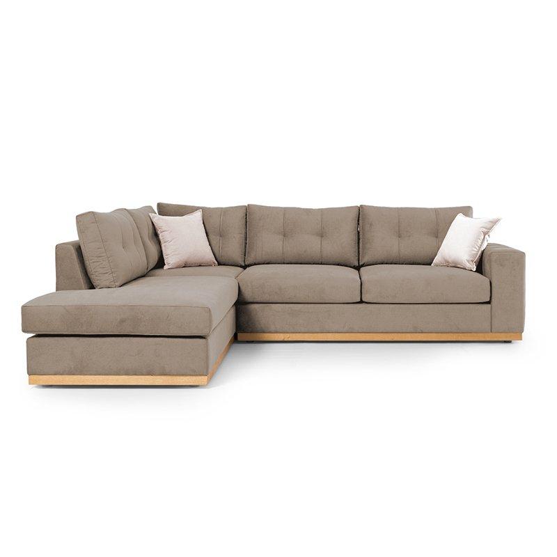Γωνιακός καναπές δεξιά γωνία Boston pakoworld ύφασμα mocha-cream 280x225x90εκ