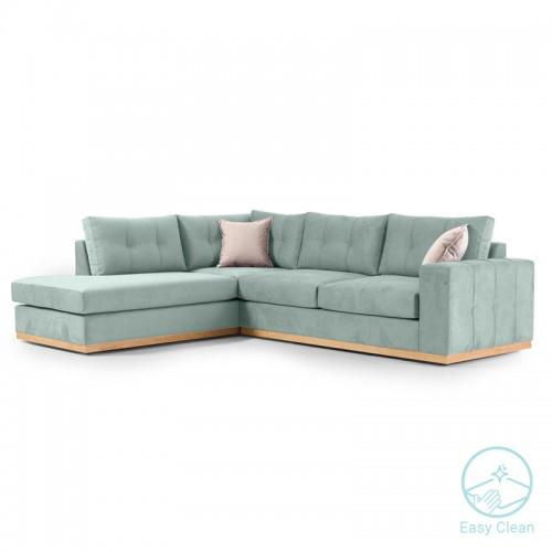 Γωνιακός καναπές δεξιά γωνία Boston pakoworld ύφασμα ciel-cream 280x225x90εκ