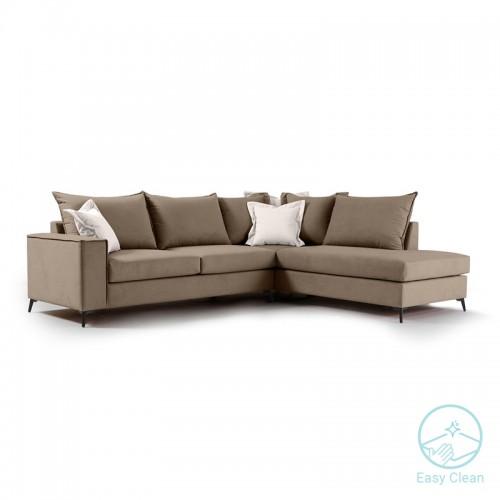 Γωνιακός καναπές αριστερή γωνία Romantic pakoworld ύφασμα mocha-cream 290x235x95εκ