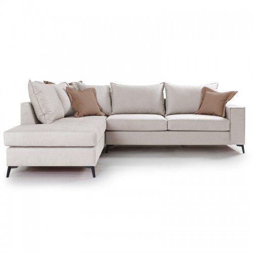 Γωνιακός καναπές δεξιά γωνία Romantic pakoworld ύφασμα cream-mocha 290x235x95εκ