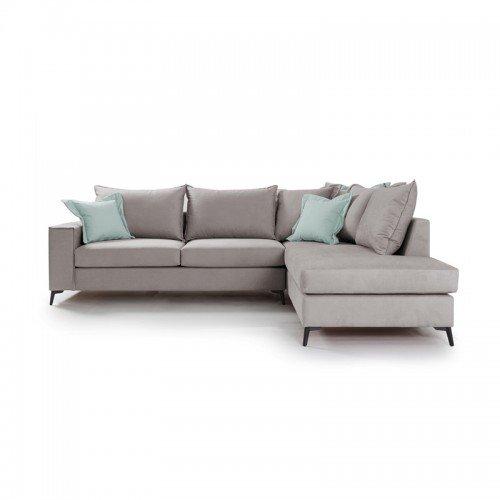 Γωνιακός καναπές αριστερή γωνία Romantic pakoworld ύφασμα elephant-ciel 290x235x95εκ