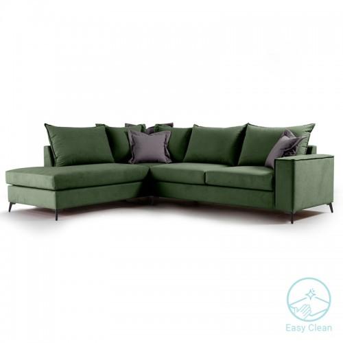 Γωνιακός καναπές δεξιά γωνία Romantic pakoworld ύφασμα κυπαρισσί-ανθρακί 290x235x95εκ