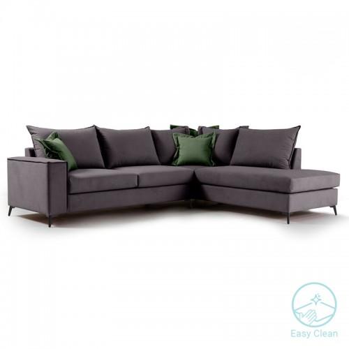 Γωνιακός καναπές αριστερή γωνία Romantic pakoworld ύφασμα ανθρακί-κυπαρισσί 290x235x95εκ