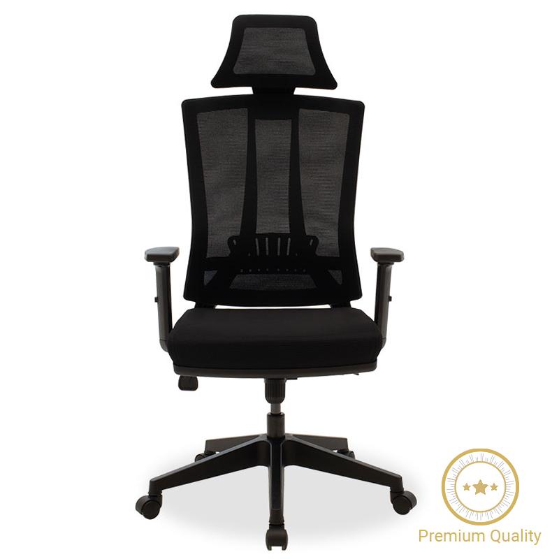 Καρέκλα γραφείου διευθυντή Edon pakoworld ύφασμα mesh μαύρο