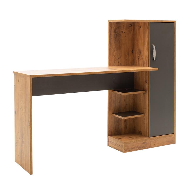 Γραφείο με βιλιοθήκη Oriana pakoworld καρυδί-ανθρακί 150x40x120εκ