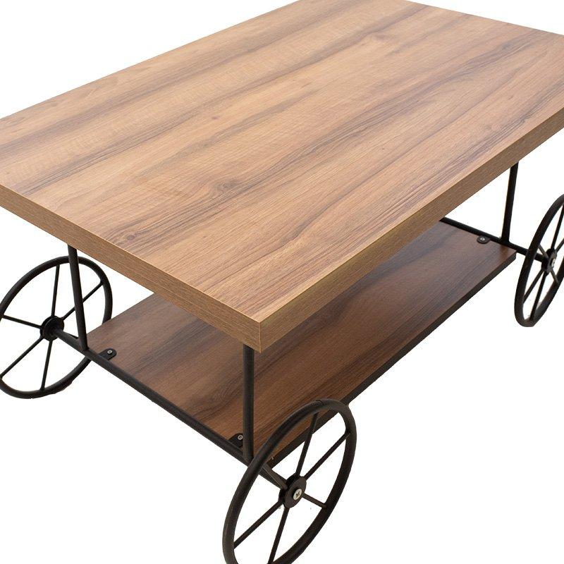 Τραπέζι σαλονιού Nakita pakoworld καρυδί-μαύρο 90x60x47εκ