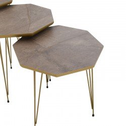 Τραπέζια σαλονιού Moonlit pakoworld σετ 3 τεμ γκρι μαρμάρου-χρυσό