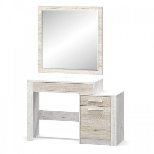 Τουαλέτα-καθρέπτης Neruda pakoworld λευκό antique-oak 114,5x39,5x76εκ