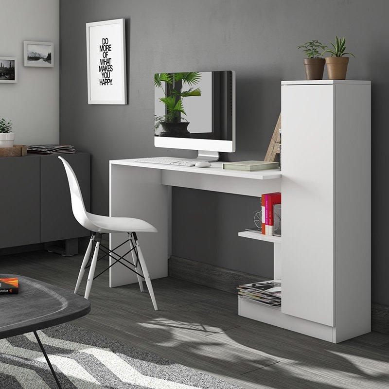 Γραφείο εργασίας Tiara pakoworld με ντουλάπι λευκό 148x45x120εκ