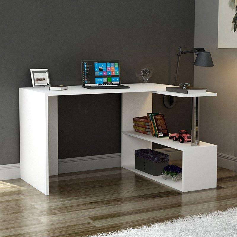 Γραφείο εργασίας-ραφιέρα Ultima pakoworld λευκό 130x55x72εκ