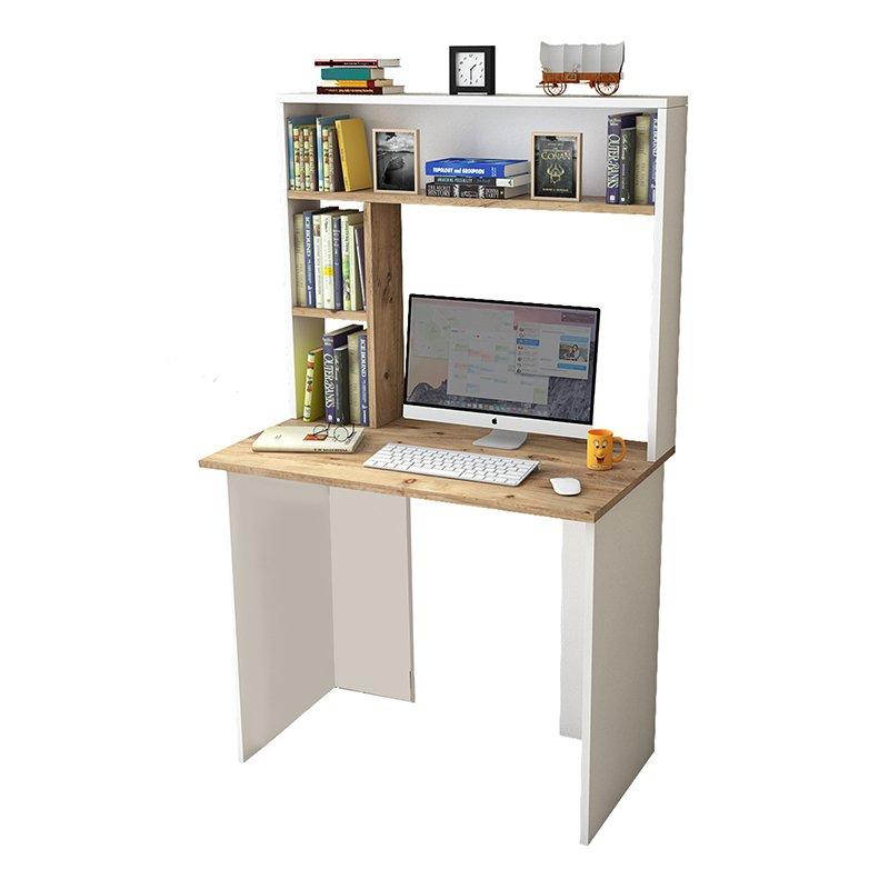 Γραφείο-ραφιέρα Eures pakoworld λευκό-φυσικό 90x51,5x148,5εκ