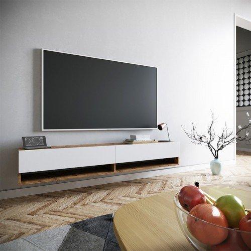 Έπιπλο τηλεόρασης επιτοίχιο Handra pakoworld λευκό-καρυδί 180x31,5x29,5εκ