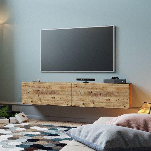 Έπιπλο τηλεόρασης επιτοίχιο Dello pakoworld καρυδί 140x31,5x29,5εκ