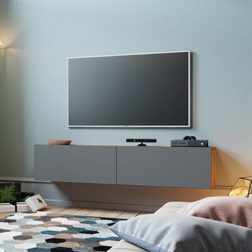 Έπιπλο τηλεόρασης επιτοίχιο Dello pakoworld ανθρακί-καρυδί 140x31,5x29,5εκ