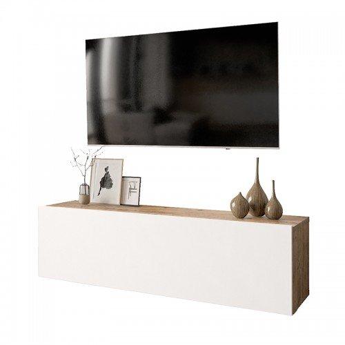 Έπιπλο τηλεόρασης επιτοίχιο Serit pakoworld λευκό-φυσικό 100x31,5x29,5εκ