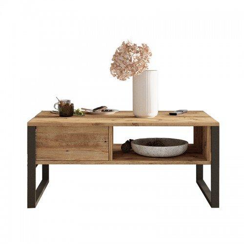 Τραπέζι σαλονιού Honora pakoworld καρυδί-μαύρο 100x60x44,5εκ
