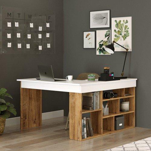 Γραφείο γωνιακό Rosaline pakoworld λευκό-oak 129x120x72εκ