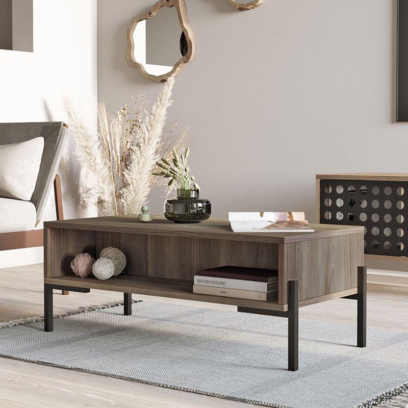 Τραπέζι σαλονιού Zadin pakoworld καφέ-μαύρο 94x44,5x35,5εκ