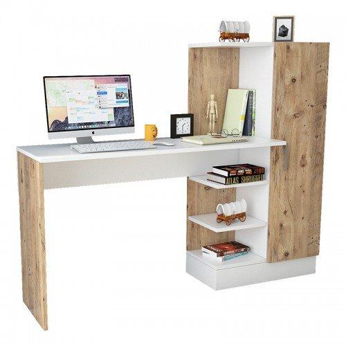 Γραφείο-ραφιέρα Kary pakoworld λευκό-oak 152,5x40x120εκ