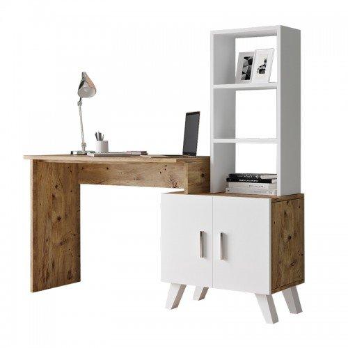 Γραφείο-ραφιέρα Kairo pakoworld λευκό-oak 150x45x138εκ