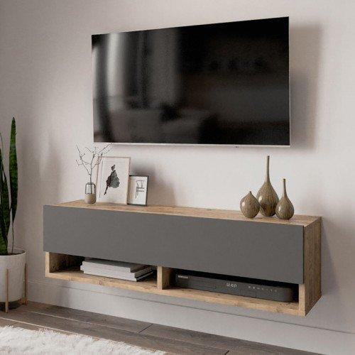 Έπιπλο τηλεόρασης επιτοίχιο Handra pakoworld ανθρακί-oak 100x31,5x29εκ