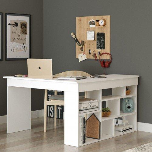 Γραφείο γωνιακό Rosaline pakoworld λευκό 120x129x72εκ