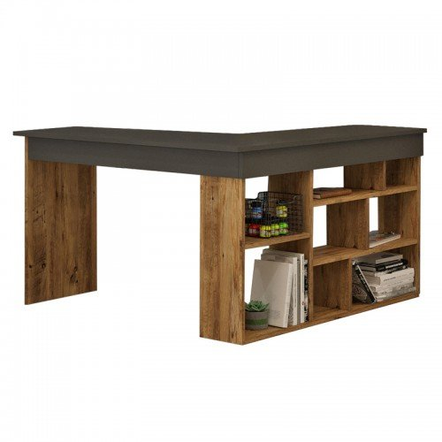 Γραφείο γωνιακό Rosaline pakoworld ανθρακί-oak 120x129x72εκ