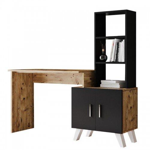 Γραφείο-ραφιέρα Kairo pakoworld μαύρο-oak 150x45x138εκ