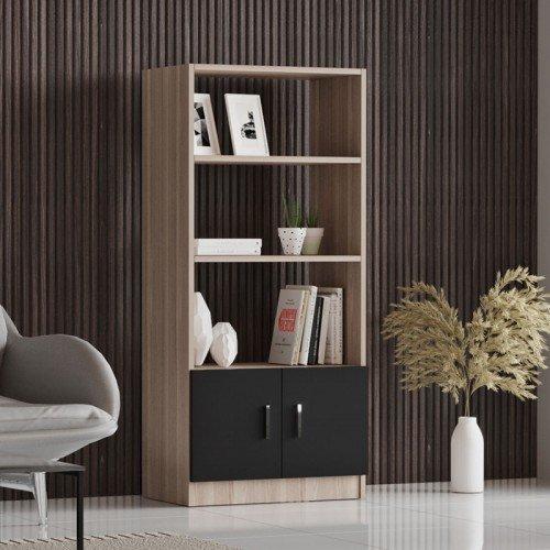 Βιβλιοθήκη Massimo pakoworld φυσικό-μαύρο 63,5x37,5x140εκ