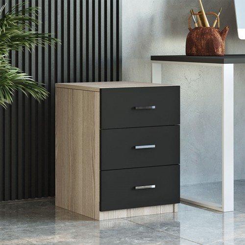 Συρταριέρα γραφείου Massimo pakoworld φυσικό-μαύρο 44,5x46,5x62εκ