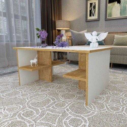 Τραπέζι σαλονιού Davin pakoworld λευκό-φυσικό 90x60x43εκ
