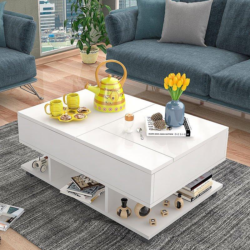Πολυμορφικό τραπέζι σαλονιού Sabbine pakoworld λευκό 90x60x35εκ