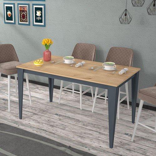 Τραπέζι Sven pakoworld γκρι-φυσικό 140x80x75εκ