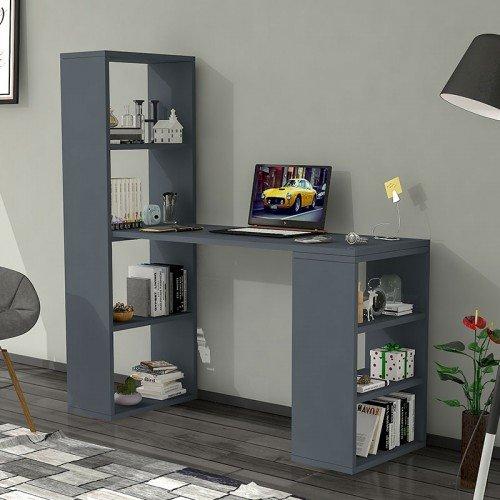 Γραφείο-ραφιέρα Solana pakoworld γκρι 120x40x124εκ