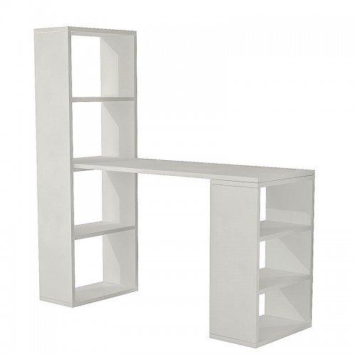 Γραφείο-ραφιέρα Solana pakoworld λευκό 120x40x124εκ