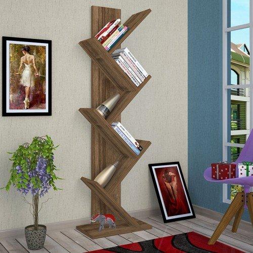 Βιβλιοθήκη Sabrine pakoworld καρυδί 40x22x128εκ