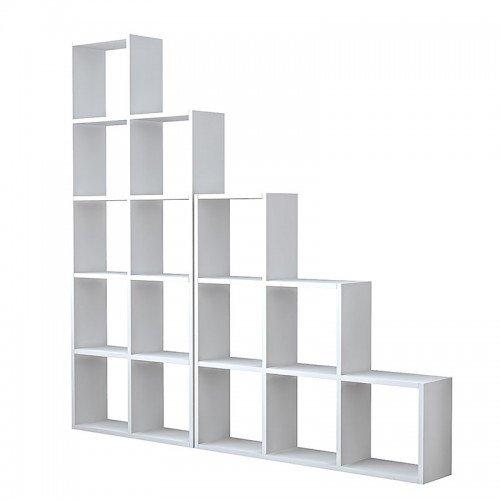 Βιβλιοθήκη Sacha pakoworld λευκό 162,5x22x161εκ