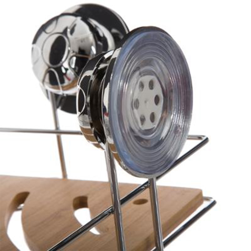 Ραφιέρα Rect pakoworld γωνιακή INOX με βεντούζες χρώμα φυσικό 26,5x19,5x16εκ