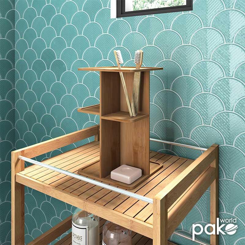 Πολυχρηστική βάση μπάνιου Bambou pakoworld περιστρεφόμενη χρώμα φυσικό 18x18x28.5εκ