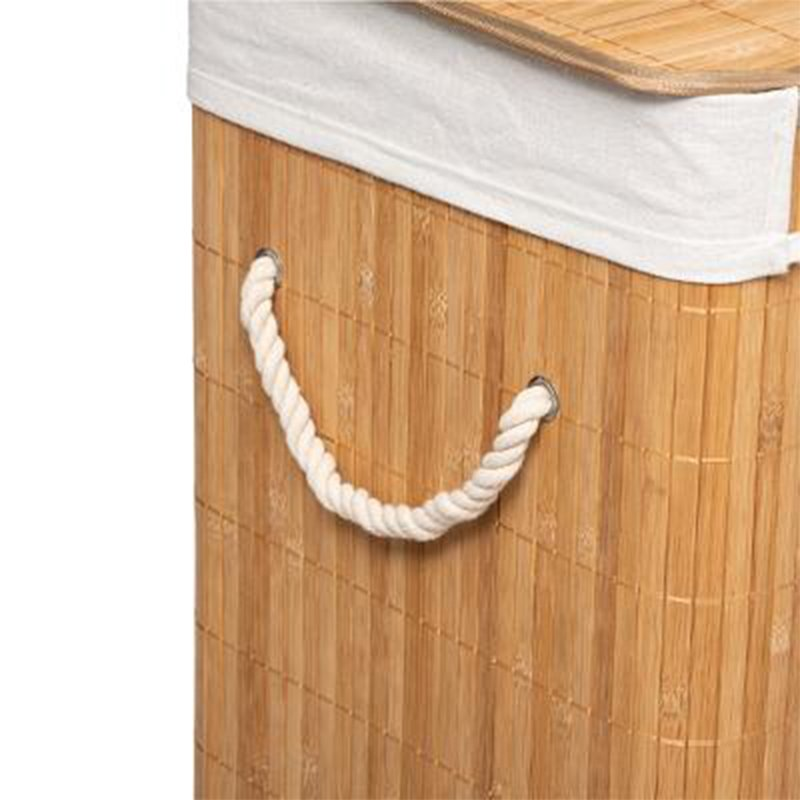 Καλάθι απλύτων Natural pakoworld χρώμα φυσικό-λευκό 40x30x50εκ