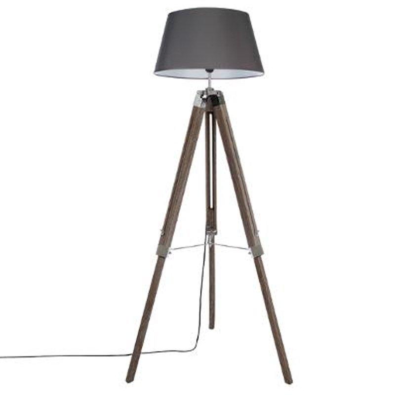 Ρυθμιζόμενο φωτιστικό δαπέδου Runo pakoworld E27 χρώμα καφέ-καπέλο ανθρακί Φ46x145εκ