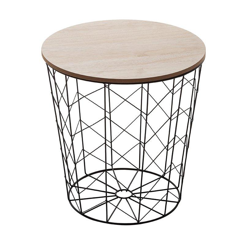Βοηθητικό τραπέζι σαλονιού Cabel pakoworld oak-μαύρο Φ37.5x37εκ