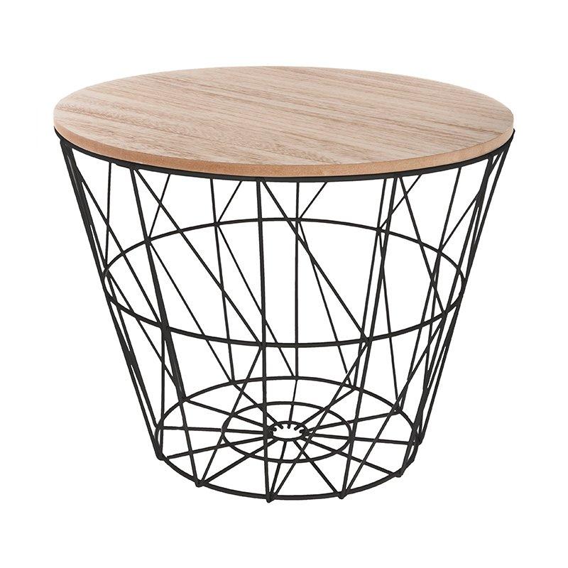 Βοηθητικό τραπέζι σαλονιού Jacot pakoworld oak-μαύρο Φ38x30,5εκ