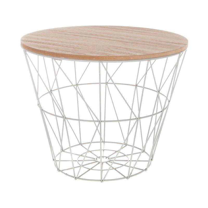 Βοηθητικό τραπέζι σαλονιού Jacot pakoworld oak-γκρι Φ38x30,5εκ