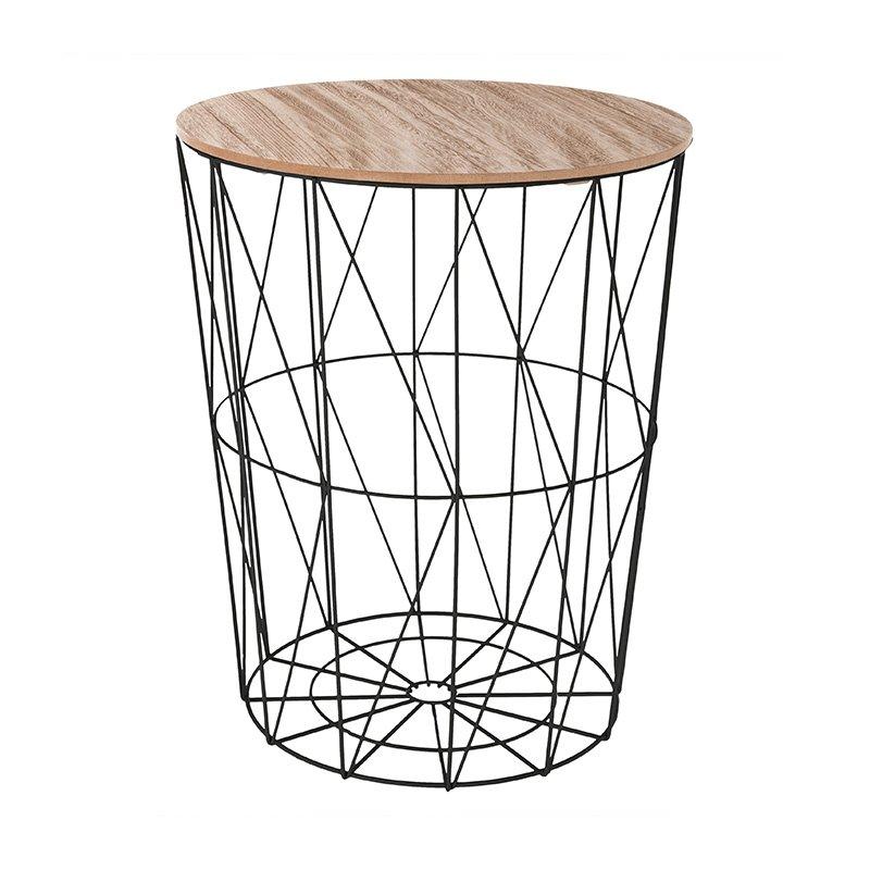 Βοηθητικό τραπέζι σαλονιού Cabel pakoworld oak-μαύρο Φ47x56.5εκ