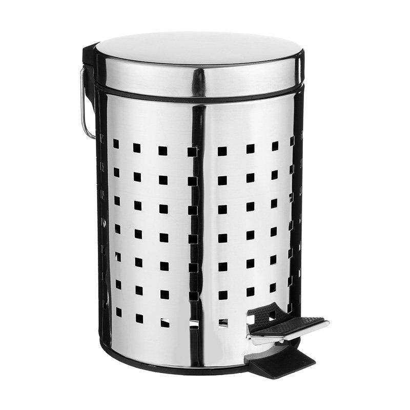Κάδος απορριμμάτων 3L Dustbin pakoworld μεταλλικός μαύρο-INOX