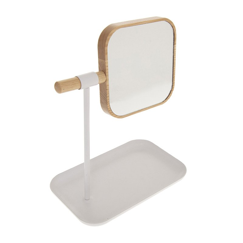 Καθρέφτης μπάνιου Nature pakoworld φυσικό-λευκό