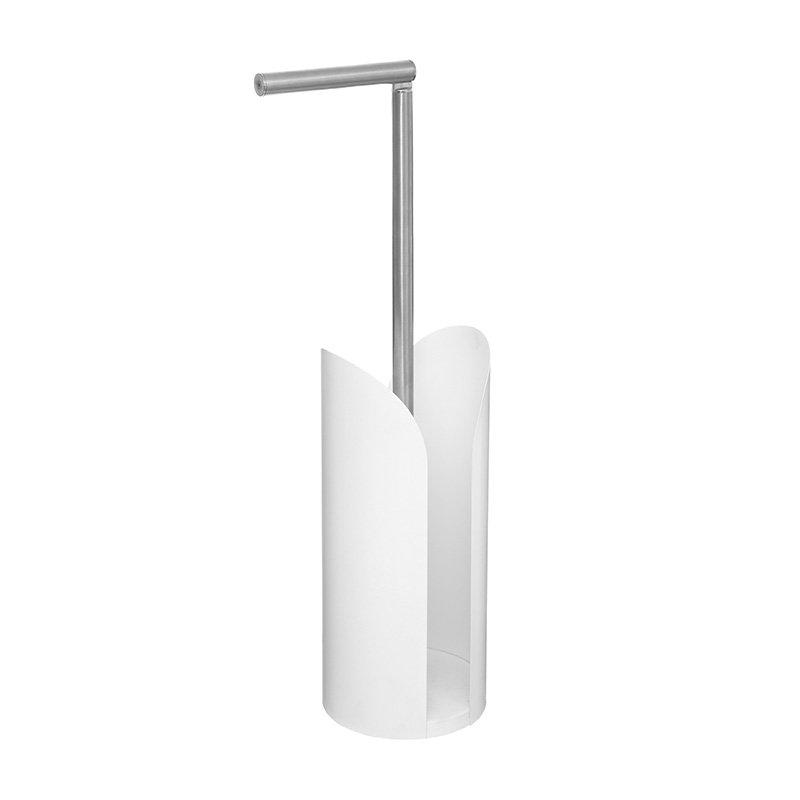 Χαρτοθήκη μπάνιου Obe pakoworld λευκό-INOX 15x15x59εκ