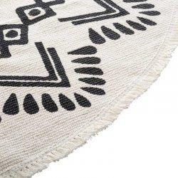 Χαλί Nomade pakoworld βαμβάκι μαύρο-λευκό Φ120x0,5εκ